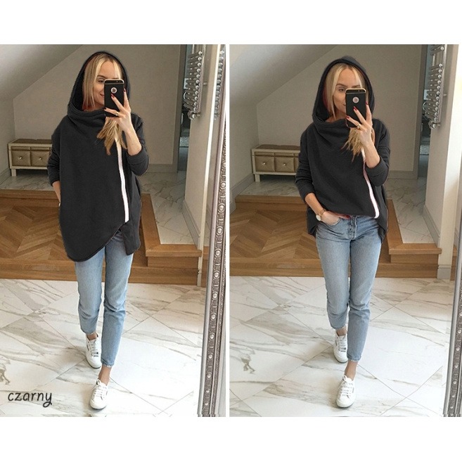 Bluzy damskie modna wygodna dresowa Bluza ASYMETRYCZNA kaptur