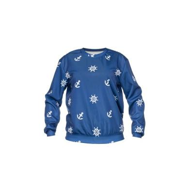 Bluzy Niebieska Bluza Oversize Fullprint MARINE BLUE Kotwice