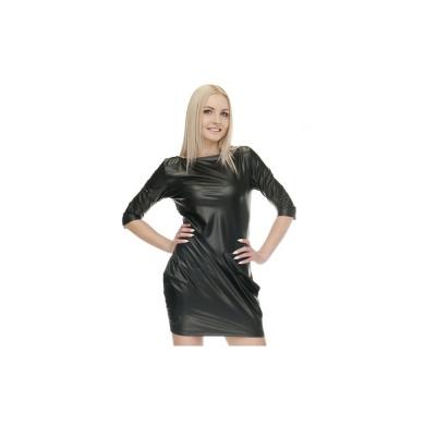 Sukienki Elastyczna Czarna sukienka bombka Eko Skóra